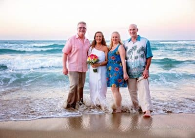 bride with family on beach
