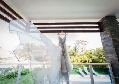 brides dress blowing in wind