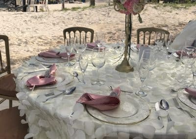 table setting on beach
